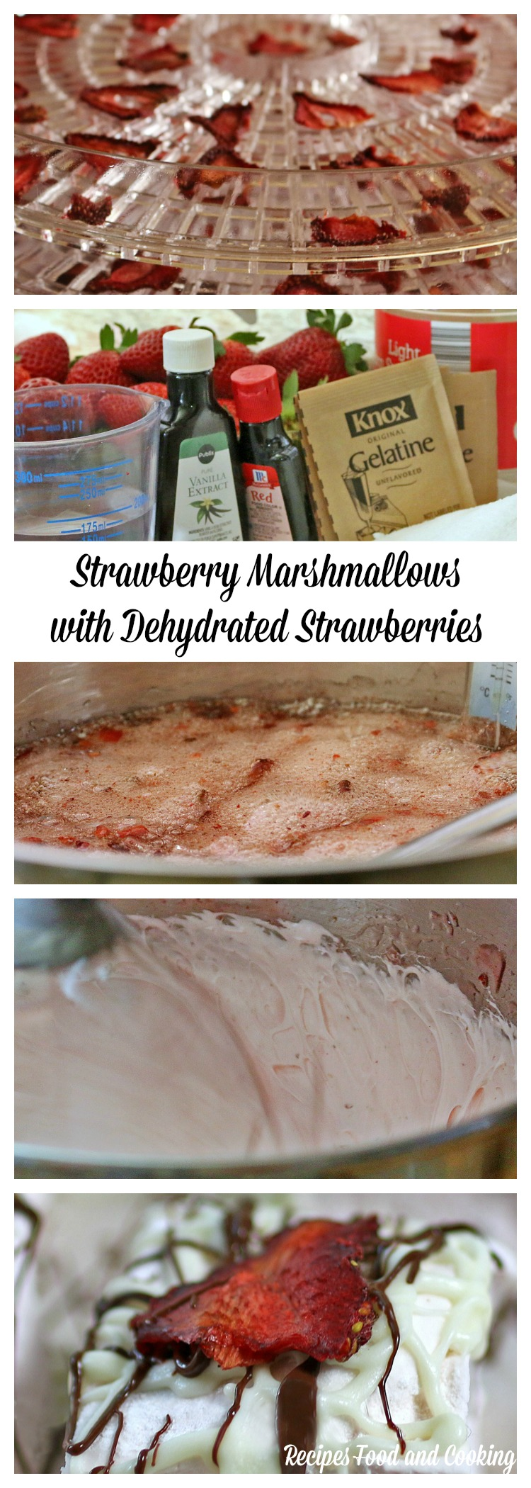 Strawberry Marshmallows with Dehydrated Strawberries