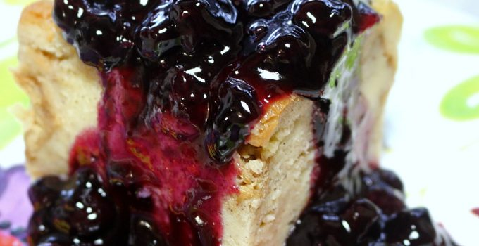 Bread Pudding with 7UP Blueberry Sauce