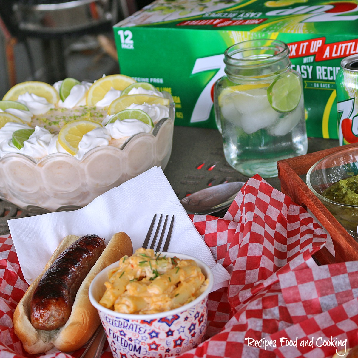 Grilled Johnsonville Brats with 7 UP Tropical Dream Salad