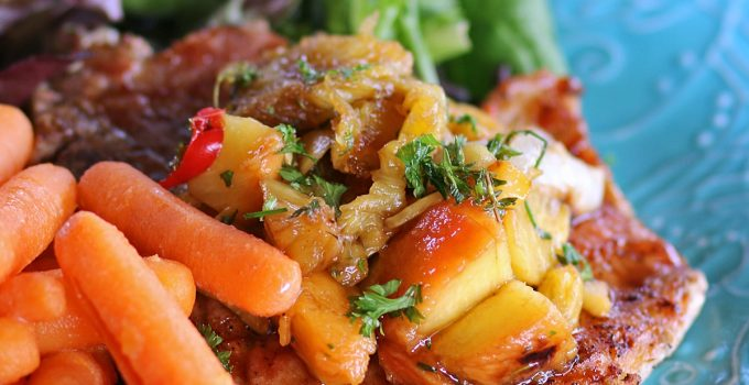 Grilled Pork Chops with Peaches and Pineapple