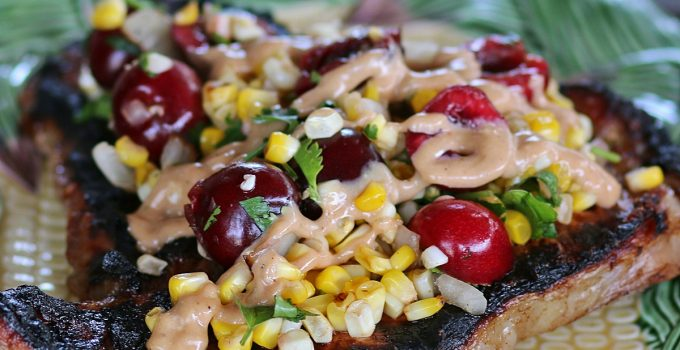 T Bone Steaks with Roasted Corn, Sweet Cherries and Barbecue Sauce