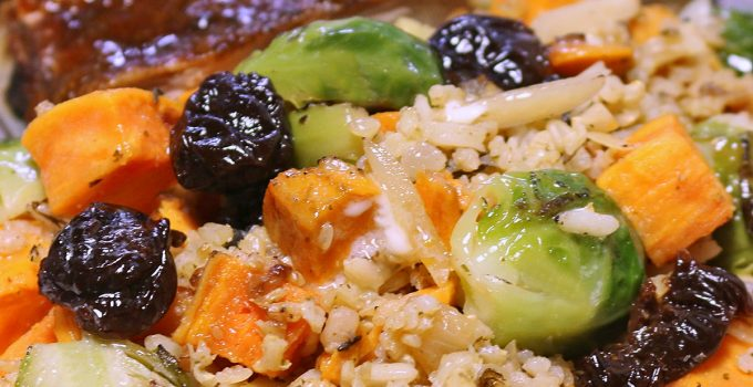 Wild and Brown Rice  with Brussels Sprouts, Sweet Potatoes, Cranberries and Almonds